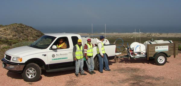 All Seasons Weed Control in Northern CA - weed control team on remote location in Central          California